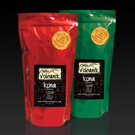hawaiian kona coffee and decaffeinated kona